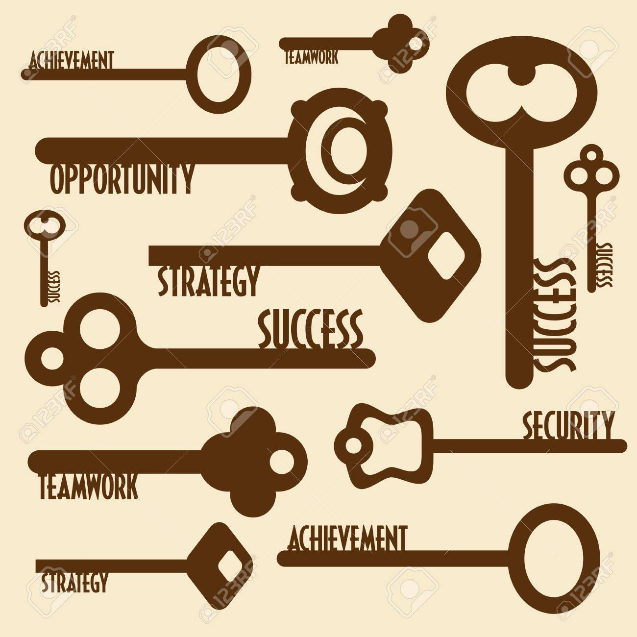 many keys with words, business concept Stock Vector - 18210672