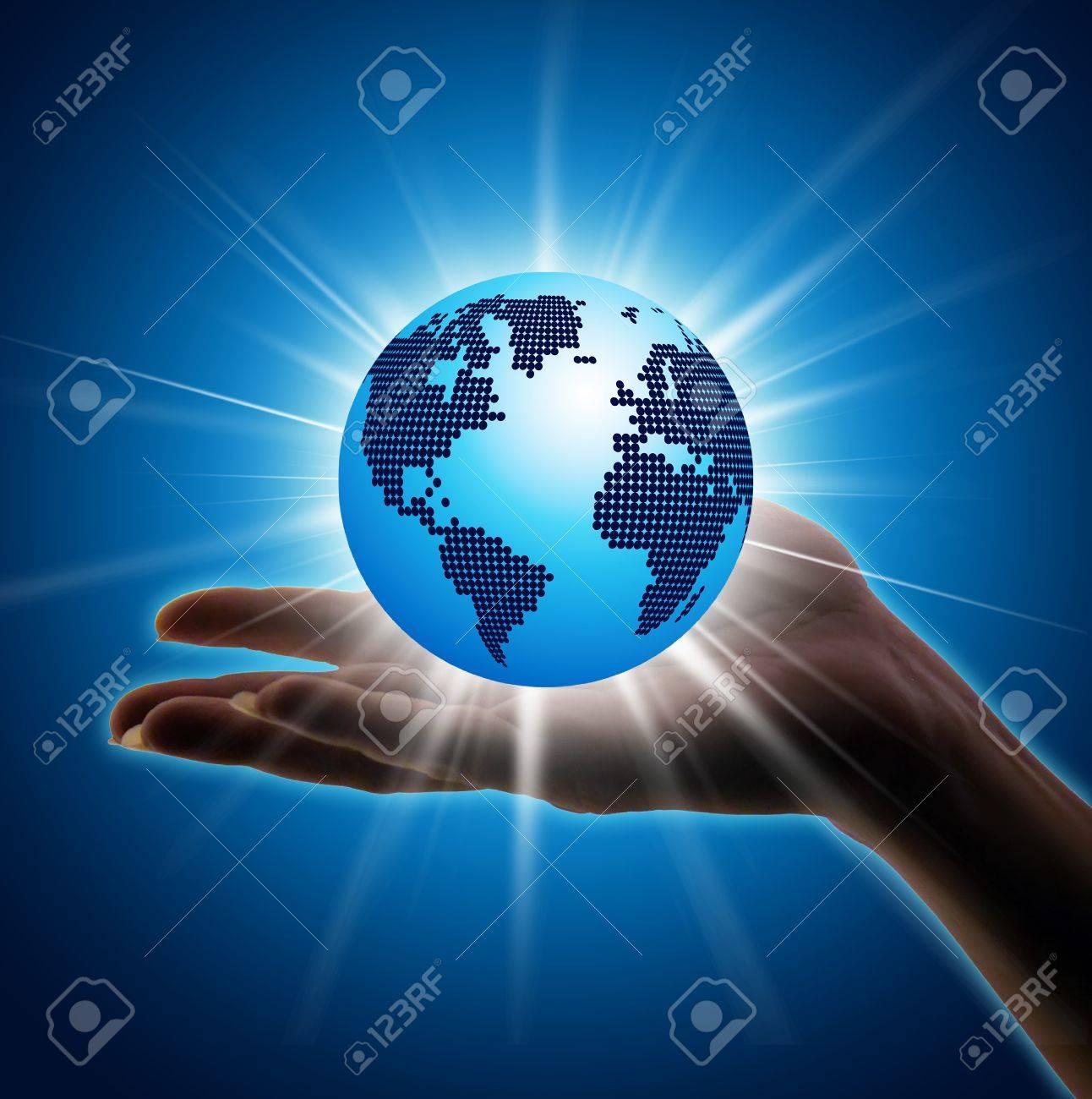 Image of hand holding earth planet against illustration Stock Illustration - 19462821