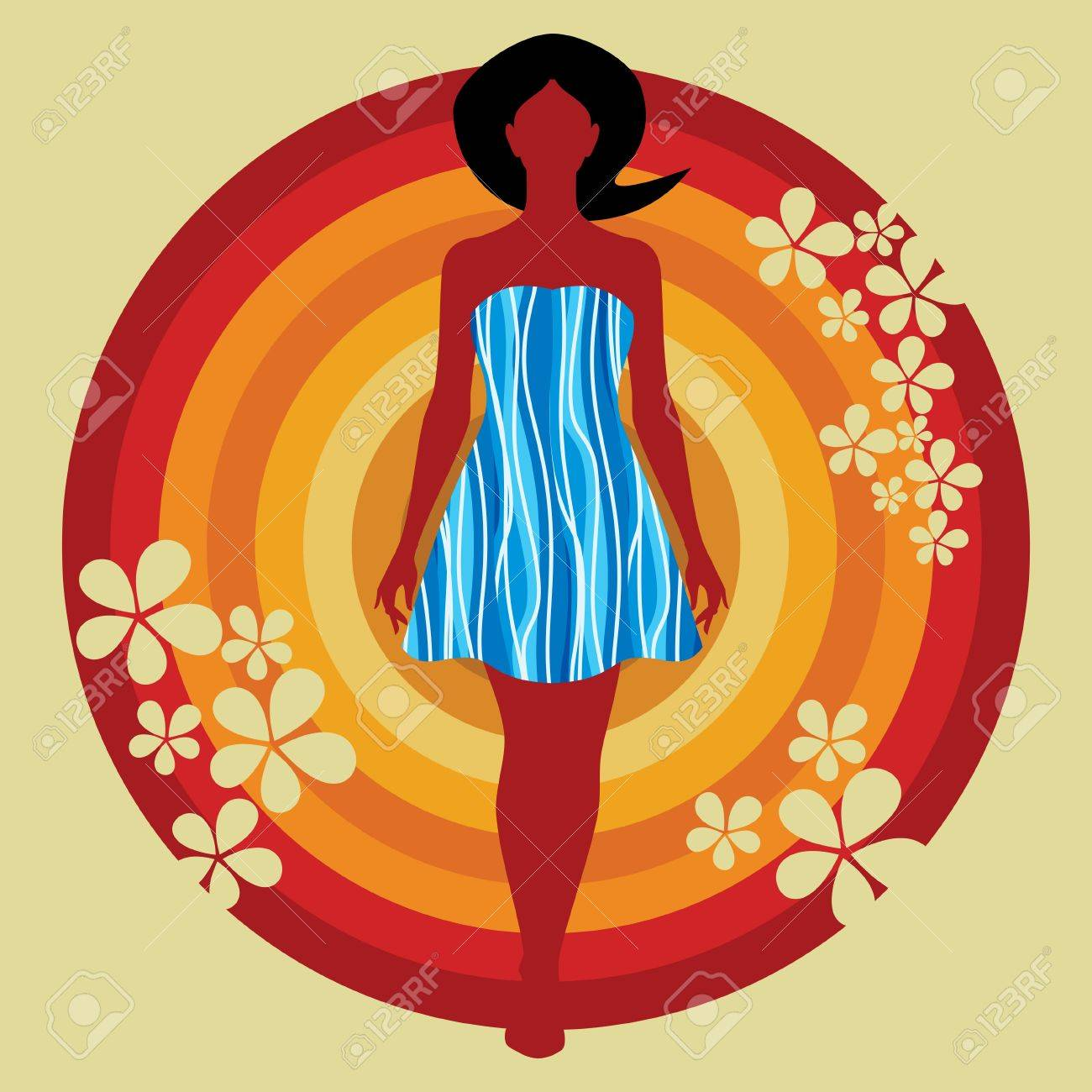 floral girl fashion illustration Stock Vector - 19466637