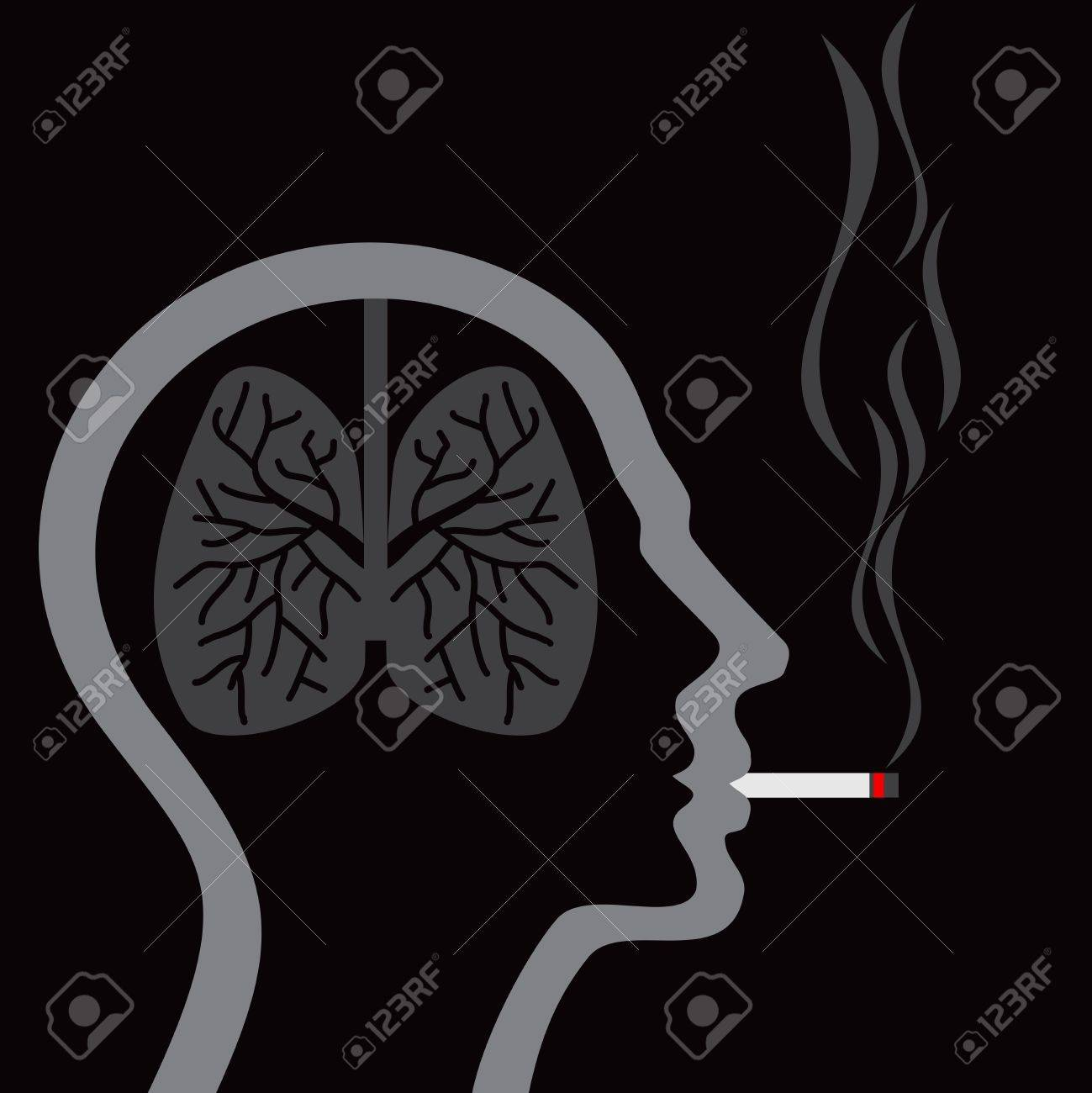 cigarette burning human lungs on abstract background Stock Vector - 20881629