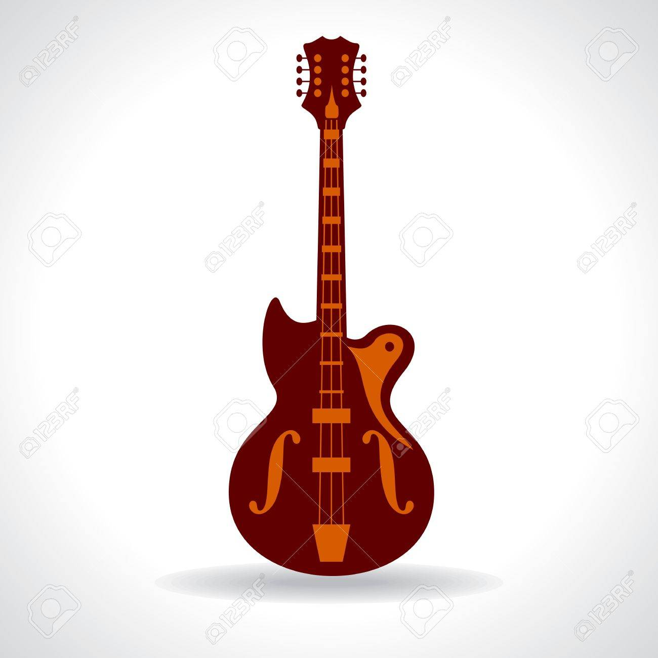 Line Drawing Of Guitar Stock Vector