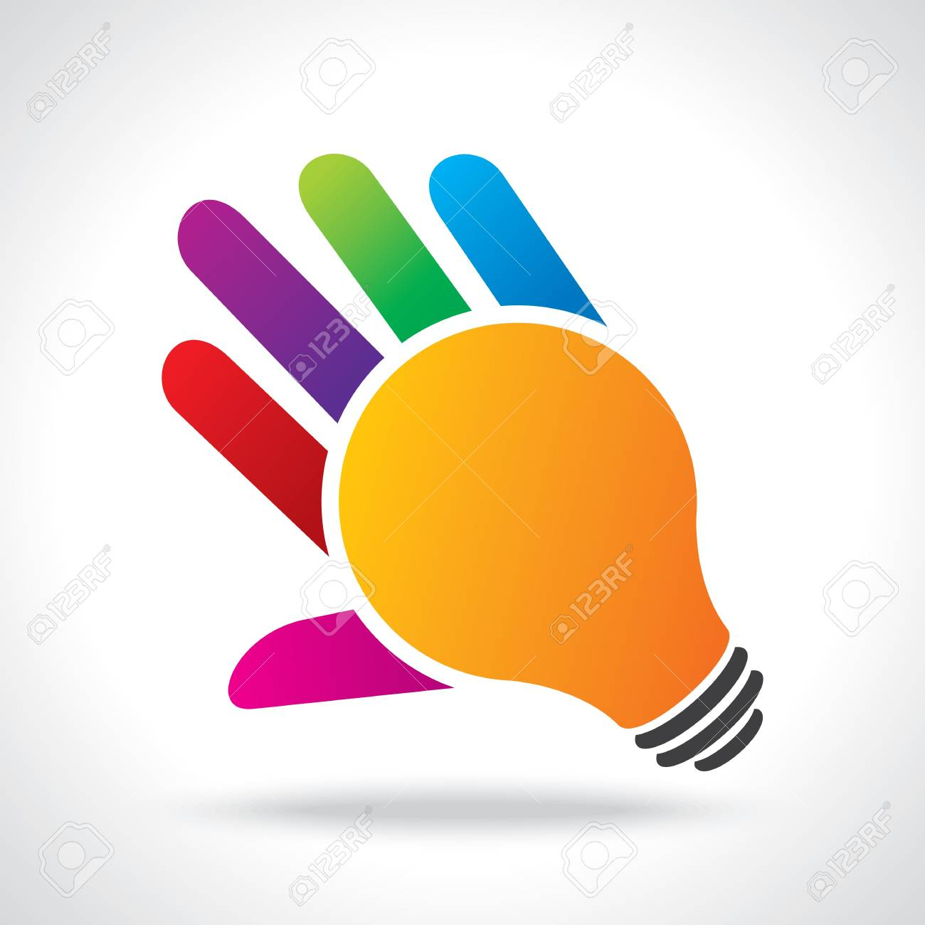 bulb idea with human hand Stock Vector - 21330528