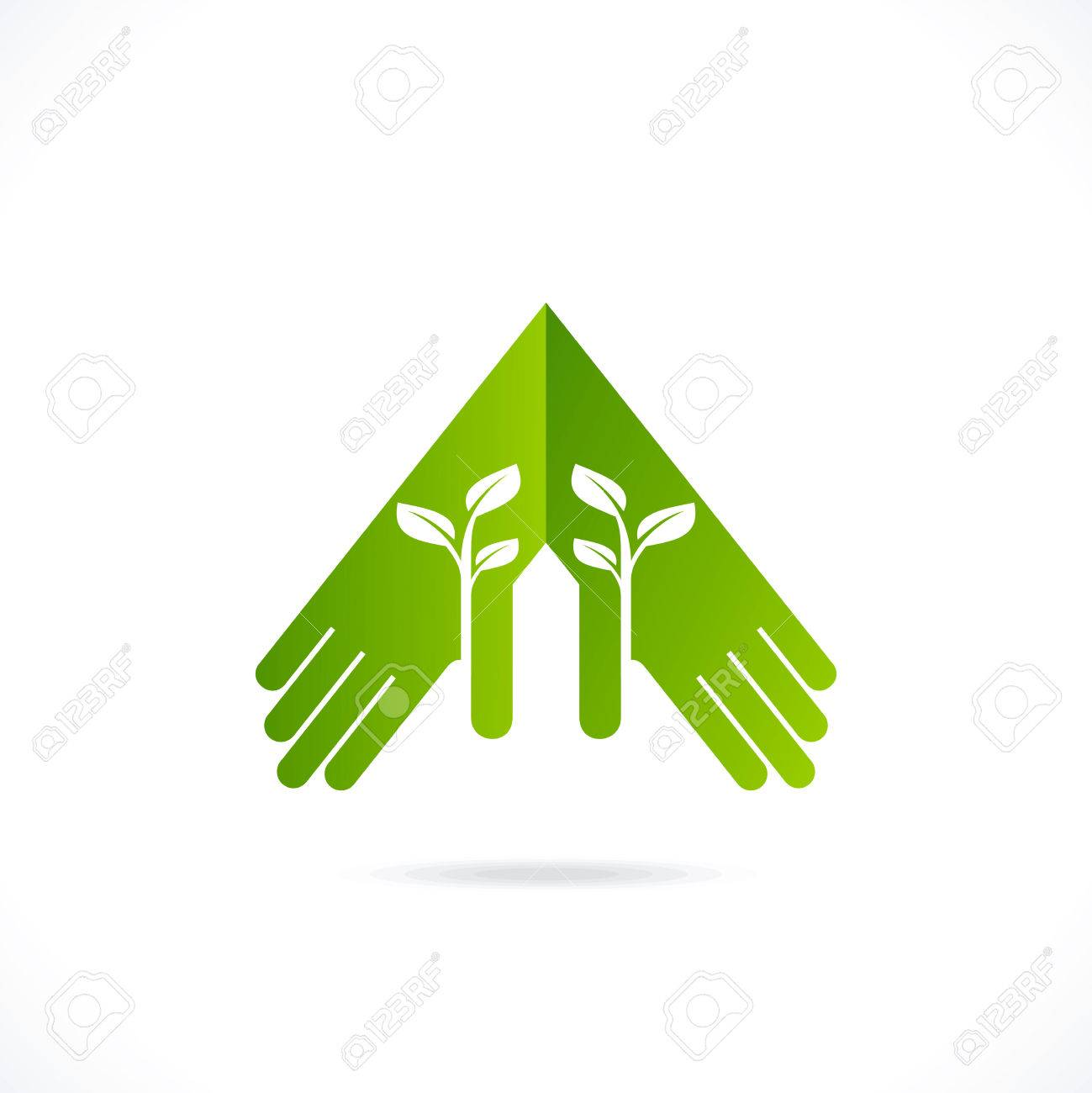 Ecological Symbols And Signshumans Hands And Green Growing