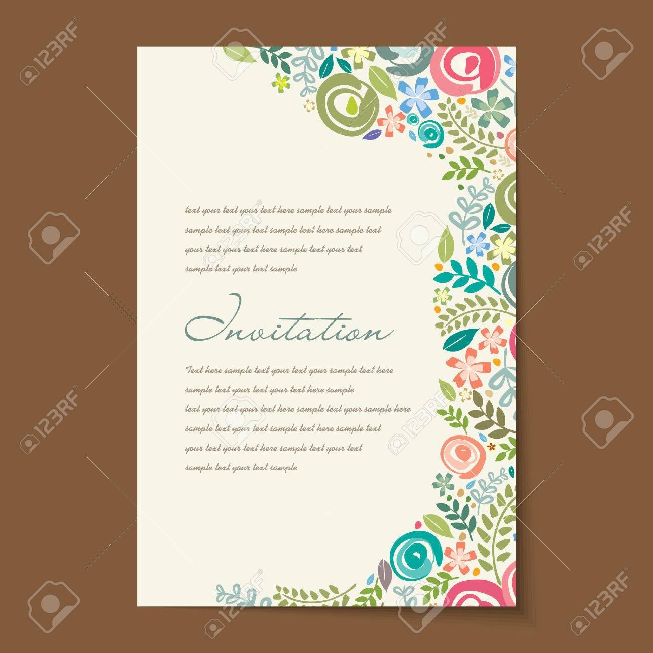 Beautiful vintage invitation cards layouts. Standard-Bild - 37108948