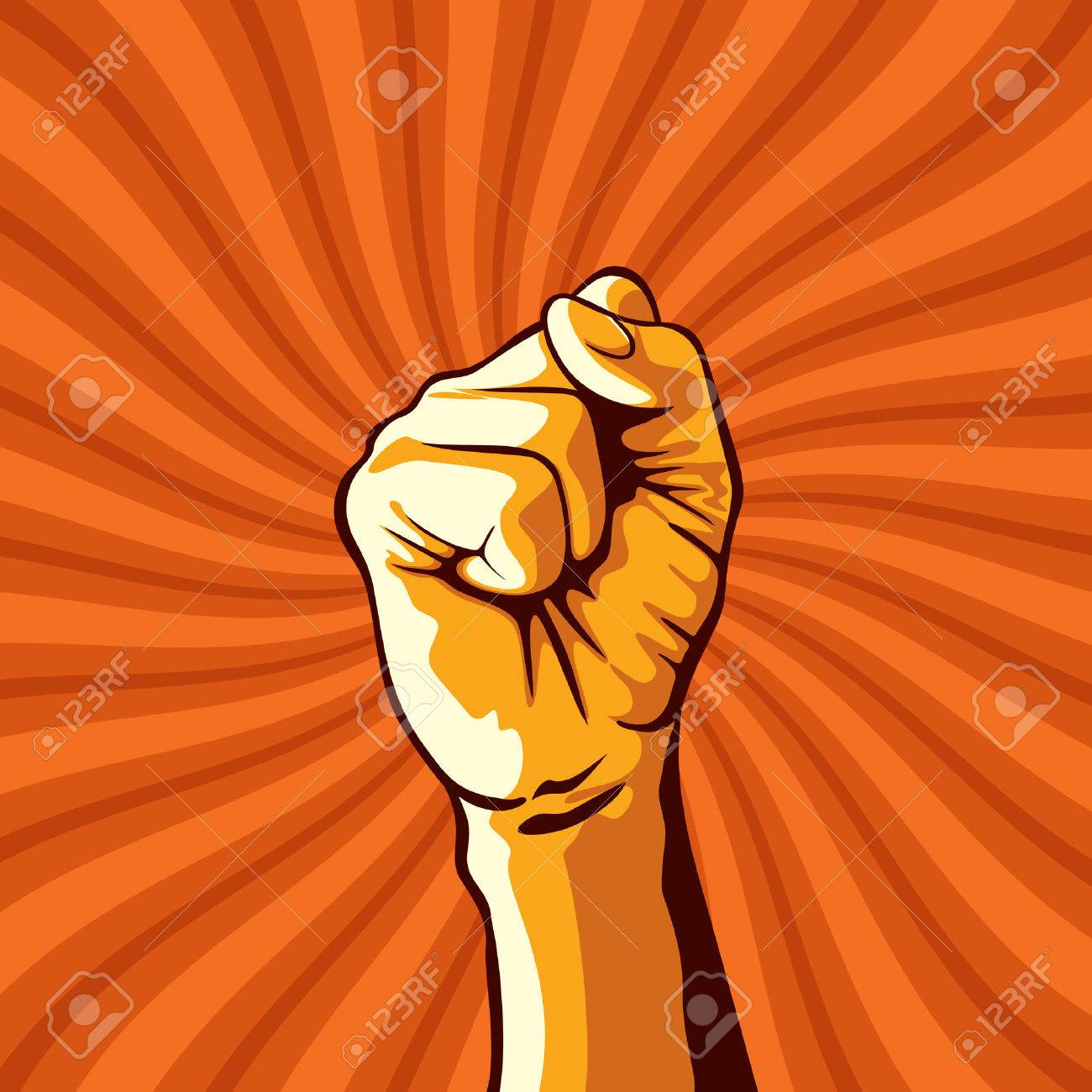 clenched fist held in protest illustration. Standard-Bild - 37109037