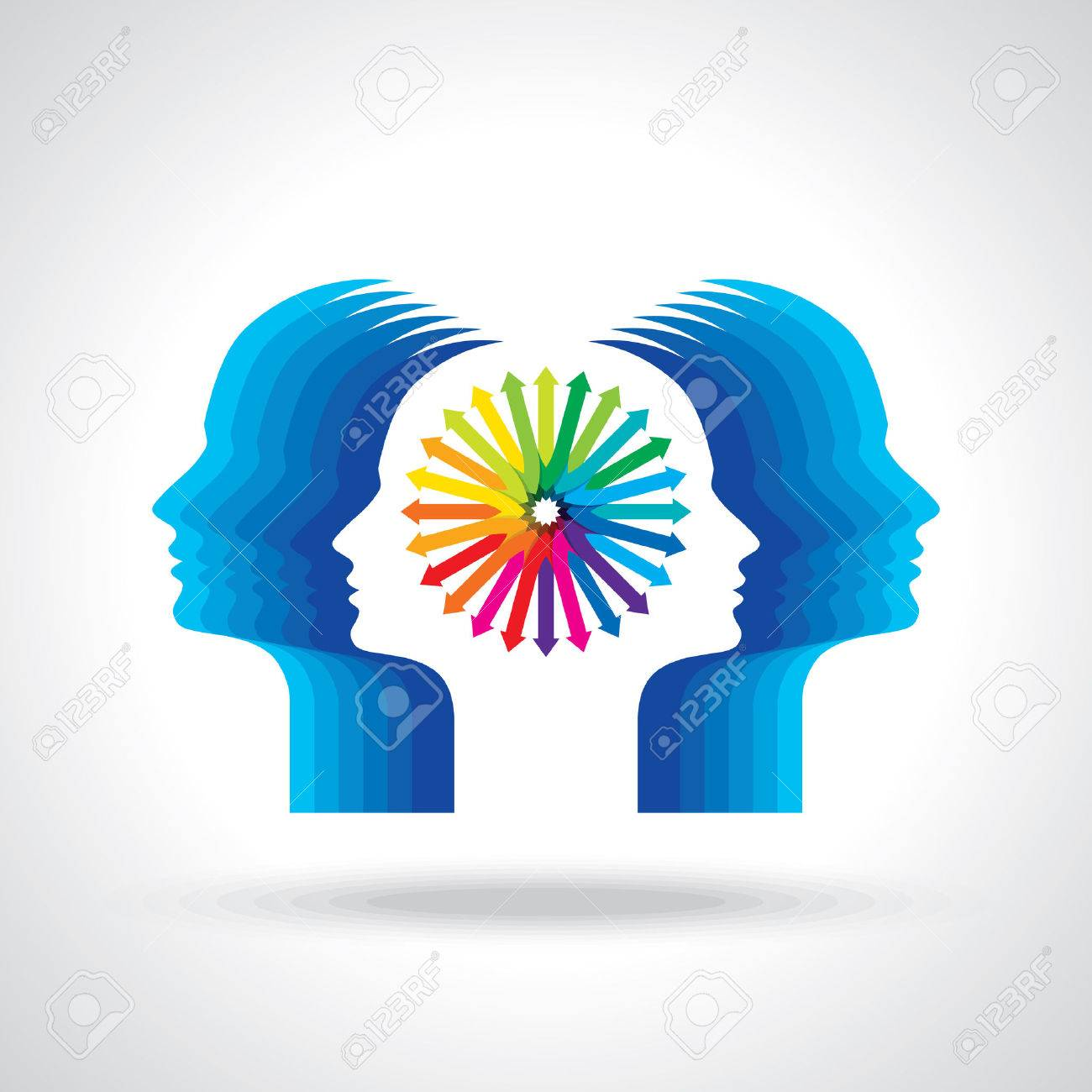 Thoughts and options illustration of head with arrows Standard-Bild - 37110621