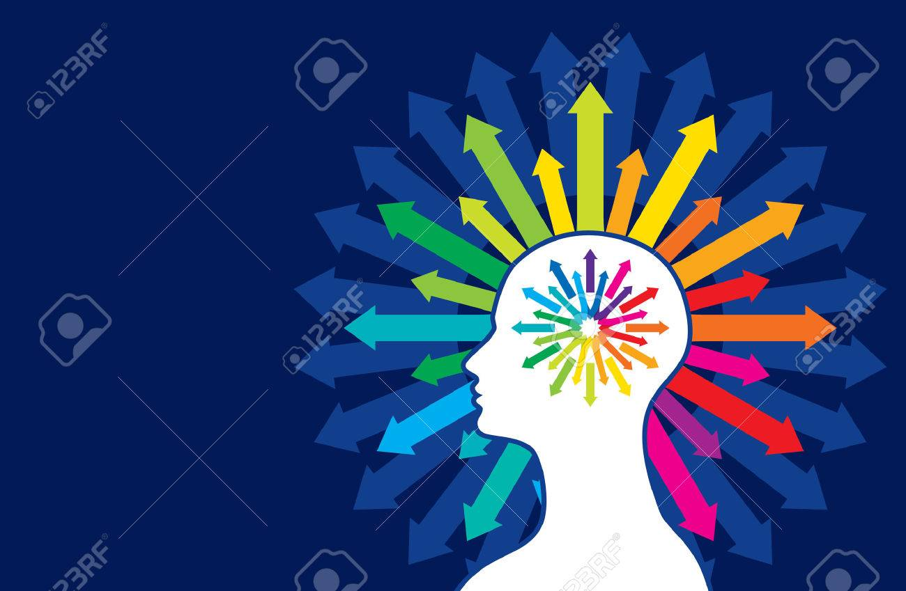 Thoughts and options illustration of head with arrows Standard-Bild - 37110408