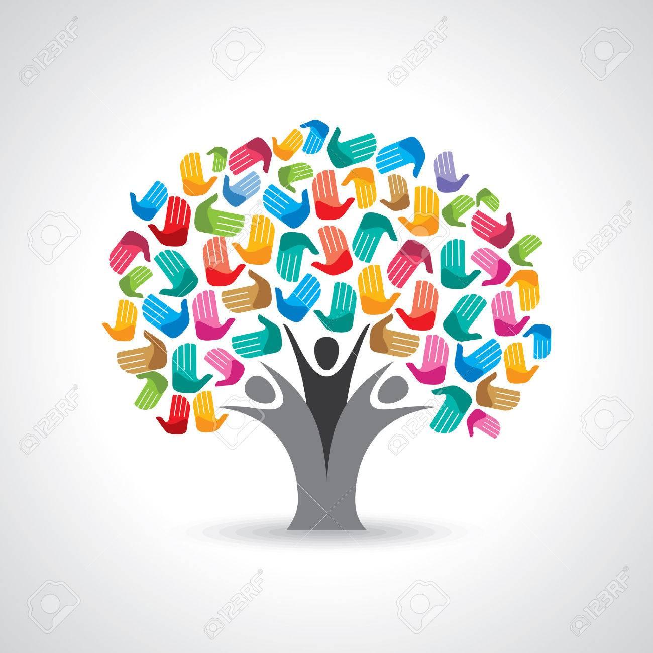 Isolated diversity tree hands illustration. Standard-Bild - 37110190