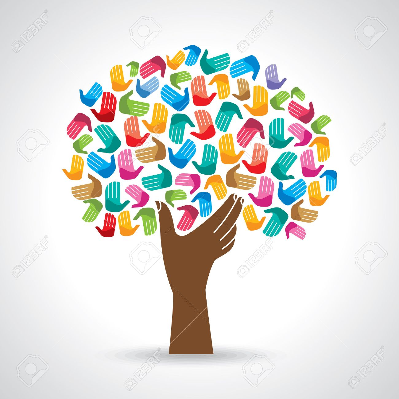 Isolated diversity tree hands illustration. Standard-Bild - 37110191