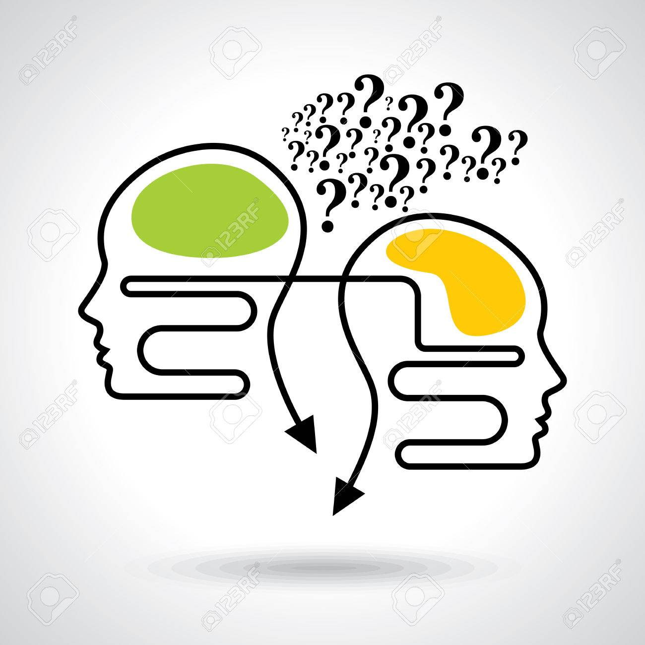 Thoughts and options illustration of head with arrows Standard-Bild - 37109732