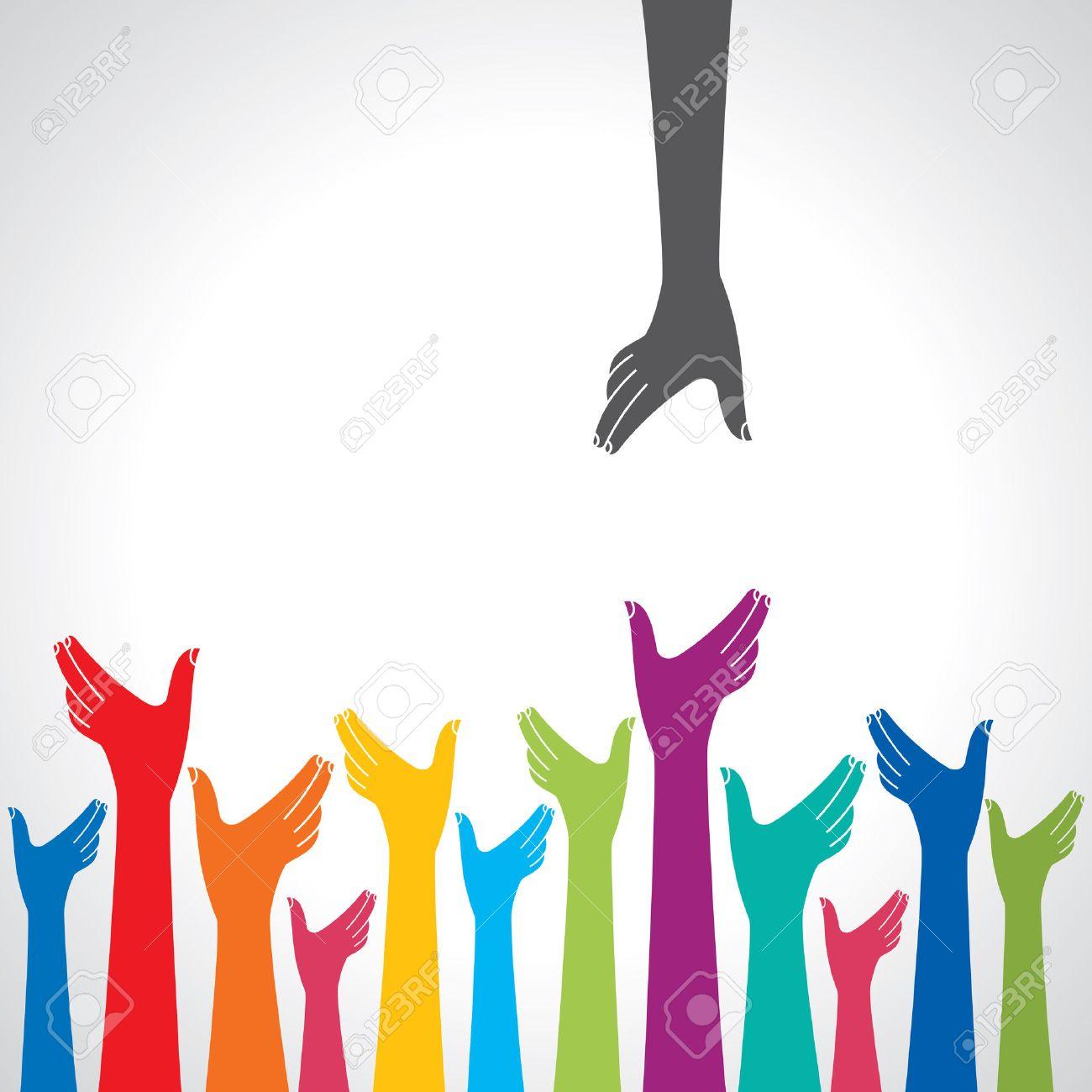 Team symbol. Multicolored hands Standard-Bild - 37109735