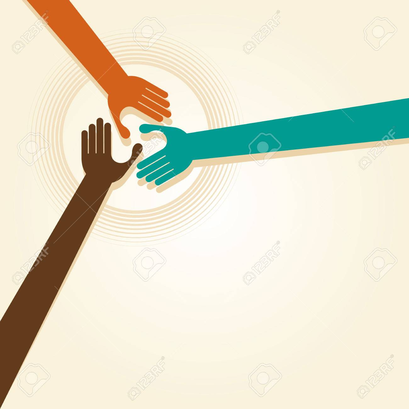 Handshake, Teamwork Hands Logo. Vector illustration. Standard-Bild - 37076542