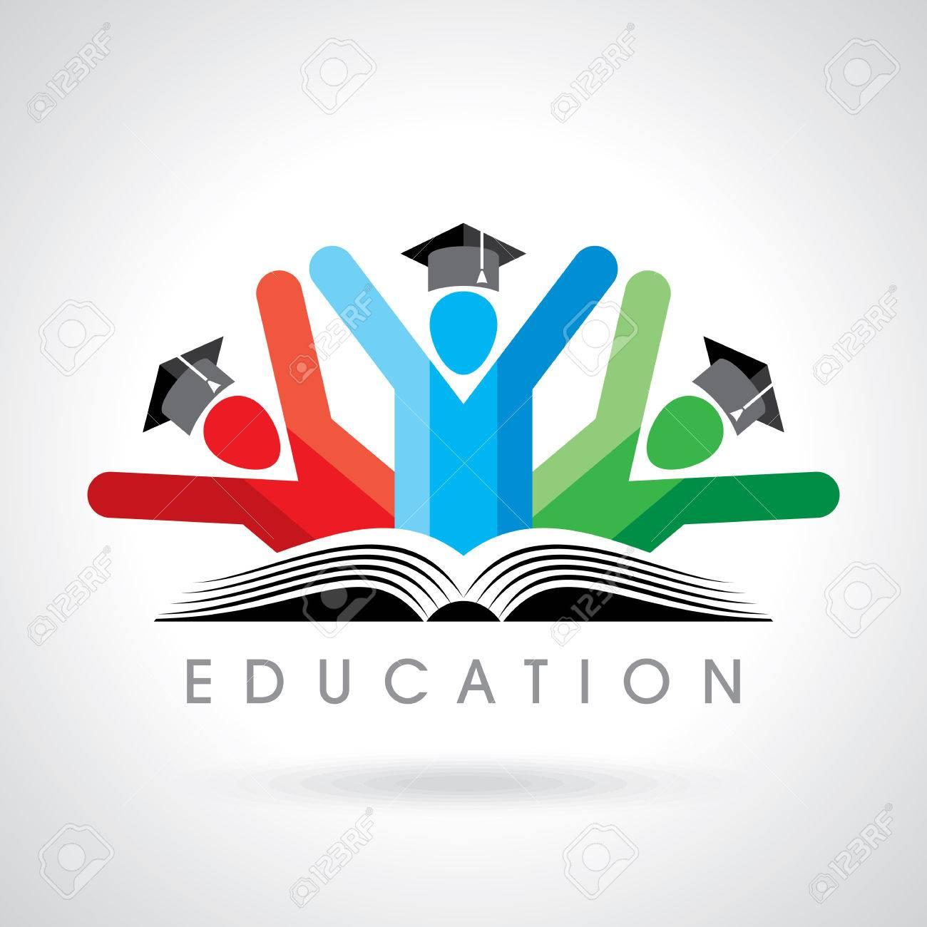 happy students with pencil icon. educational symbol Standard-Bild - 39942339
