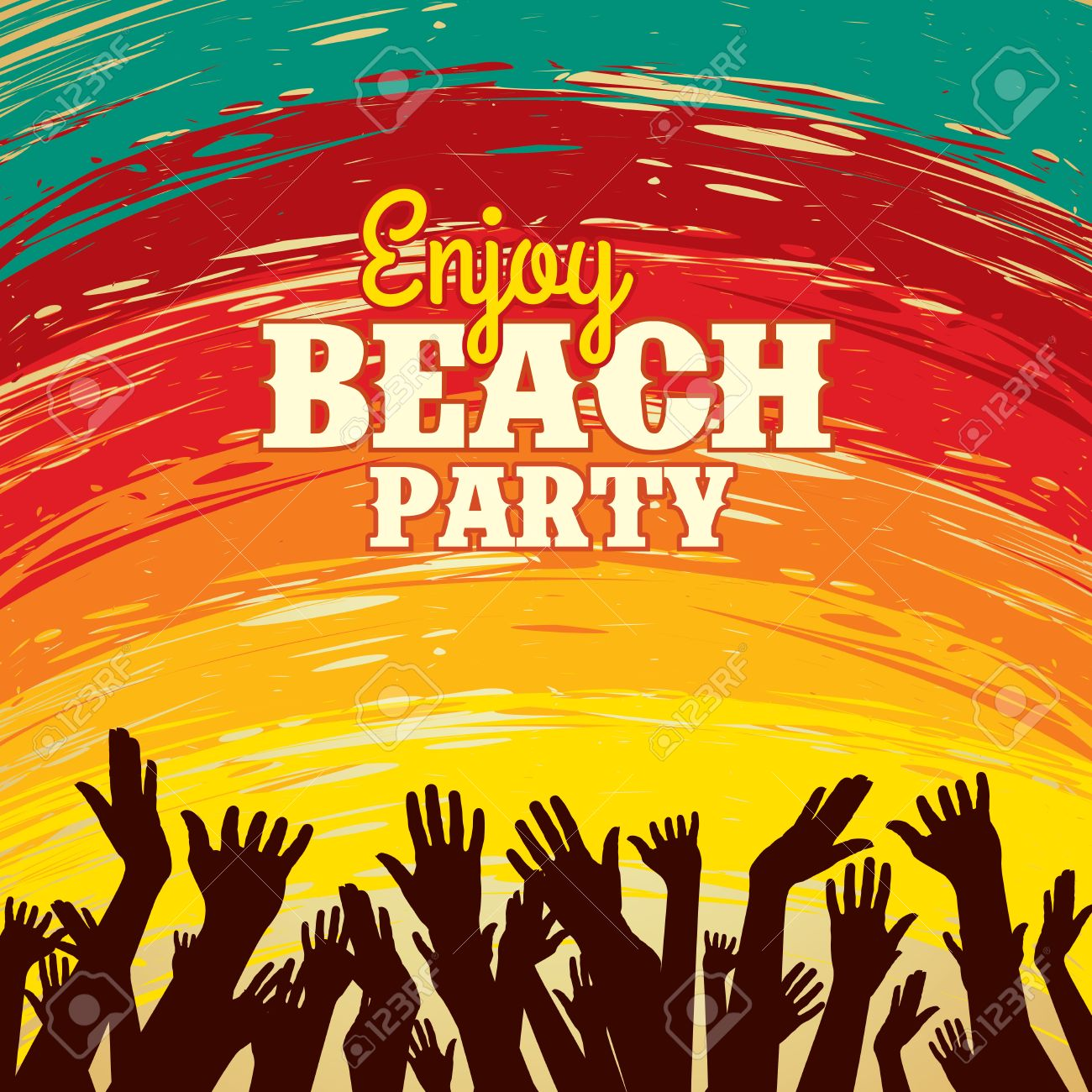 Summer Beach Party Vector Flyer Template Royalty Free Cliparts ...