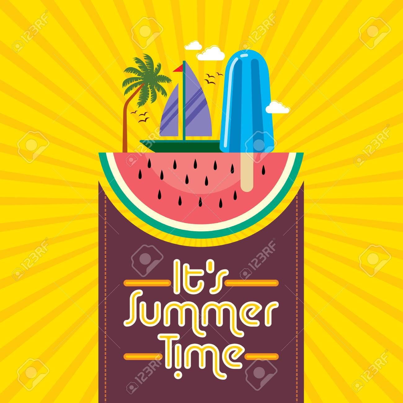 Summer holidays illustration  summer background Standard-Bild - 39943197