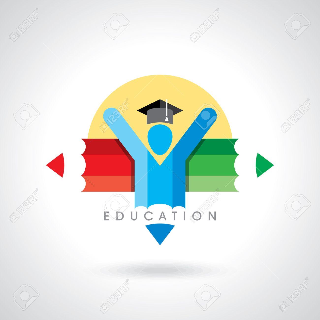 happy students with pencil icon. educational symbol Standard-Bild - 39637495