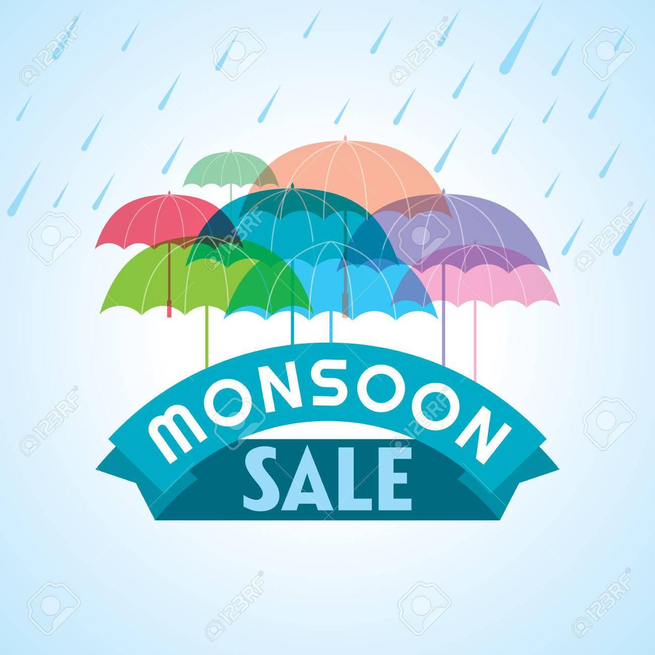 Monsoon offer and sale banner offer or poster. Standard-Bild - 41621319