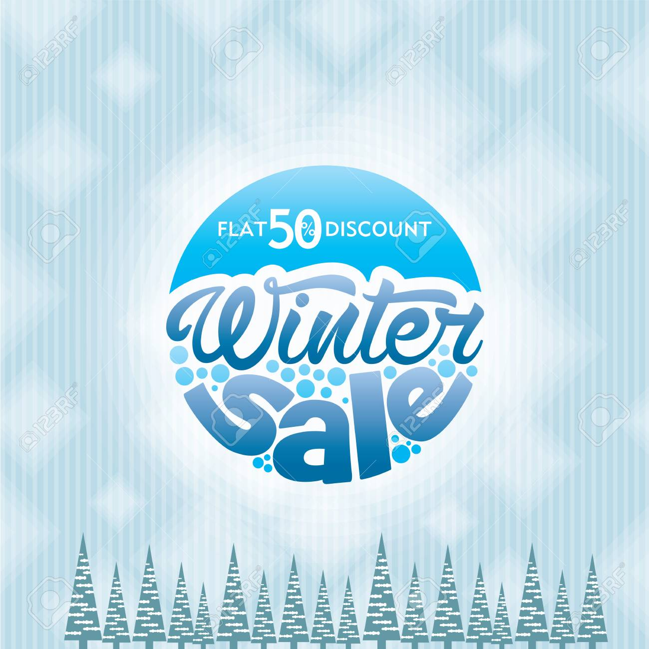 Winter Sale Design In Blue Color For Business Promotion Royalty Free ...