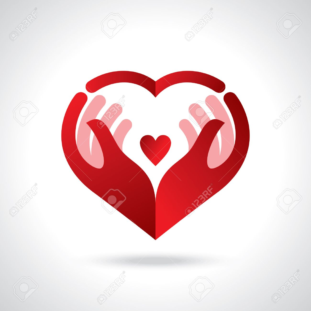 Icon of kindness and charity, Hands and heart. Standard-Bild - 61580968