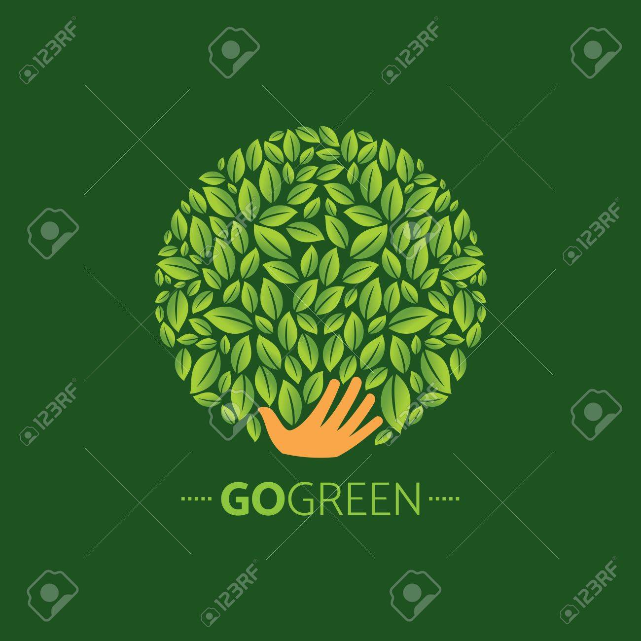 ecological symbols and signs,human's hands and green growing plants & leafs - 61581060