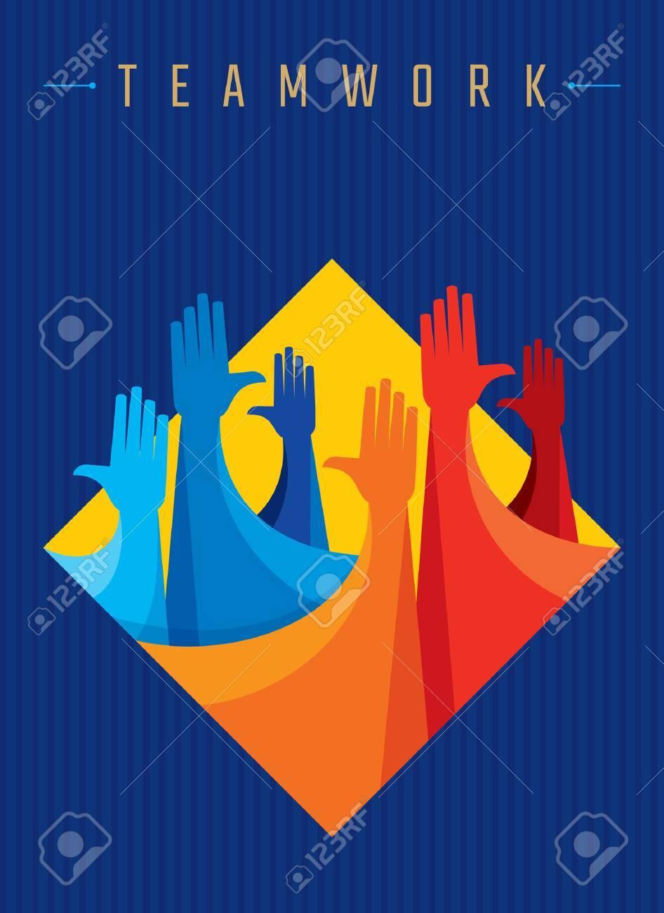 Teamwork People, Holding hands. Design for teamwork concept illustration - 62247495
