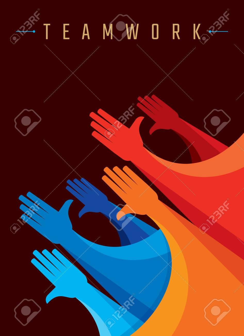 Teamwork People, Holding hands. Design for teamwork concept illustration - 62247645