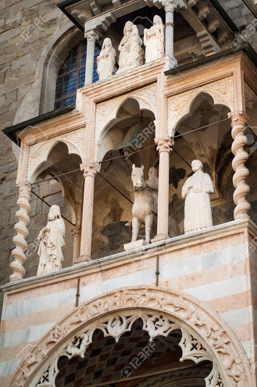 Part Of The Entrance Decoration At Cappella Colleoni A 15th Stock