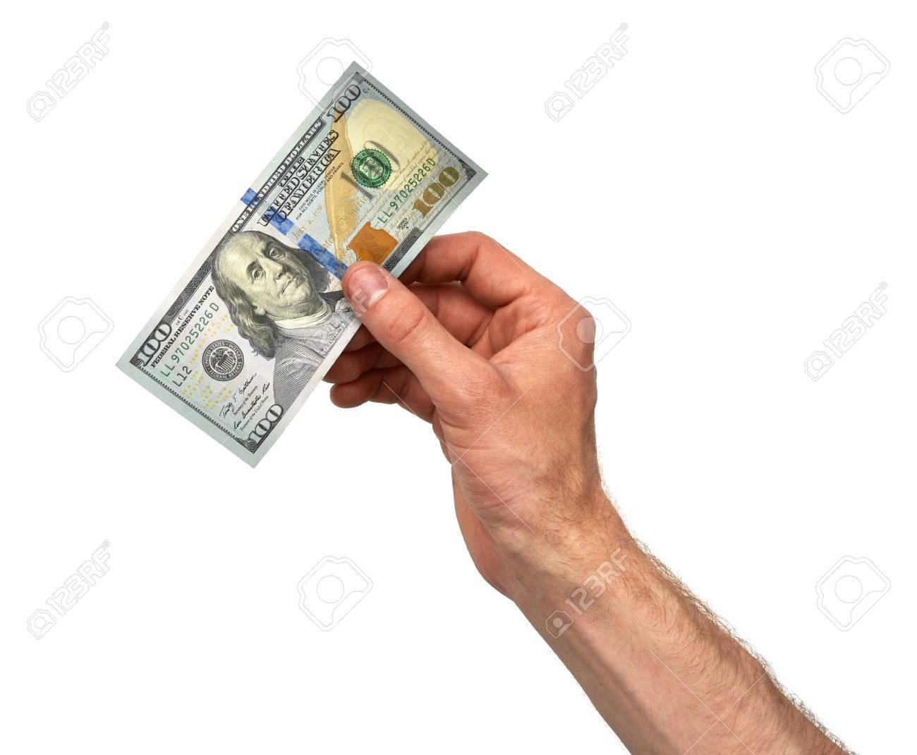 Hand Nimmt 100-Dollar-Schein Auf Weißem Hintergrund Lizenzfreie ...