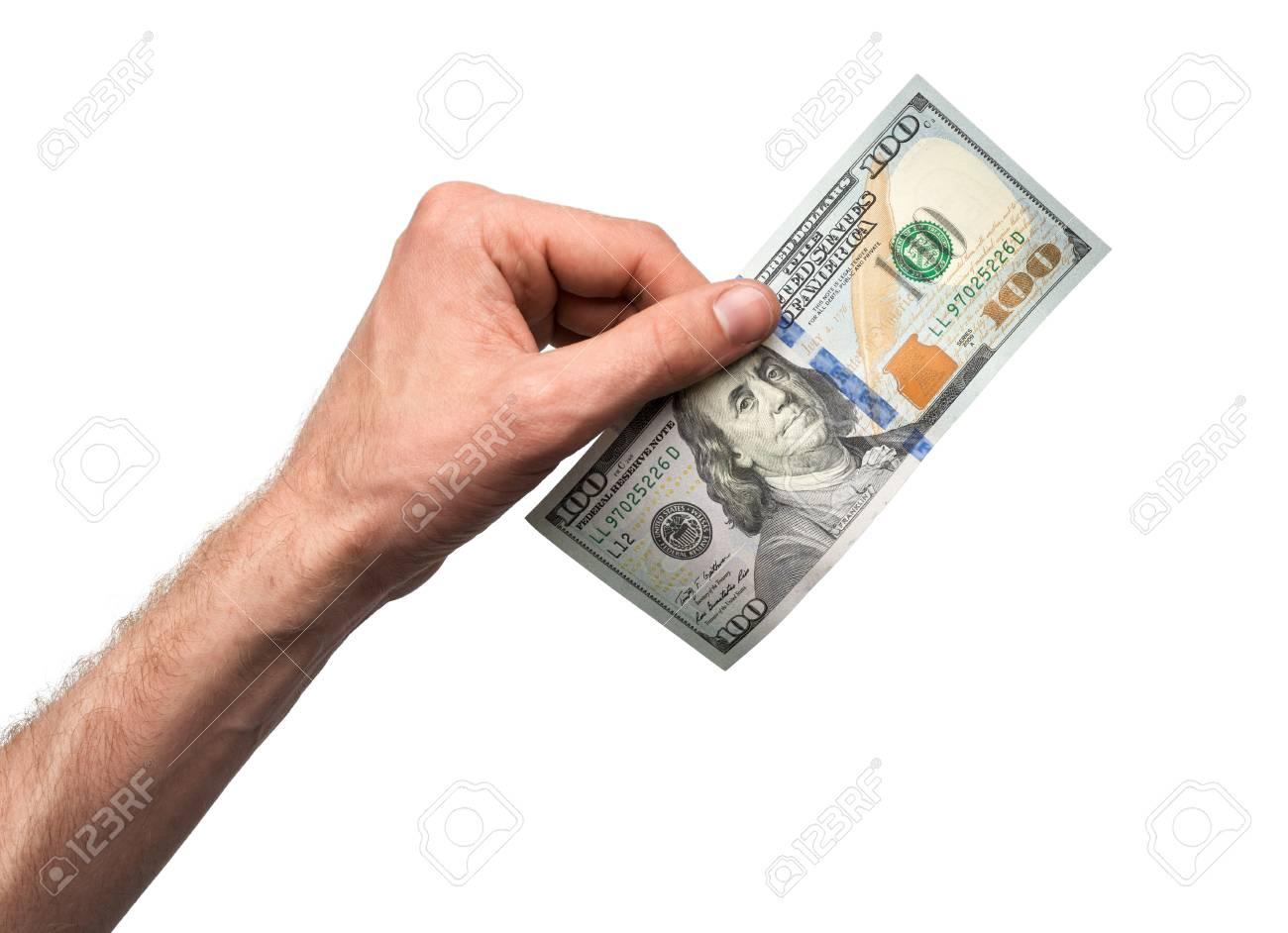 Hand Legen 100-Dollar-Schein Auf Weißem Hintergrund Lizenzfreie ...