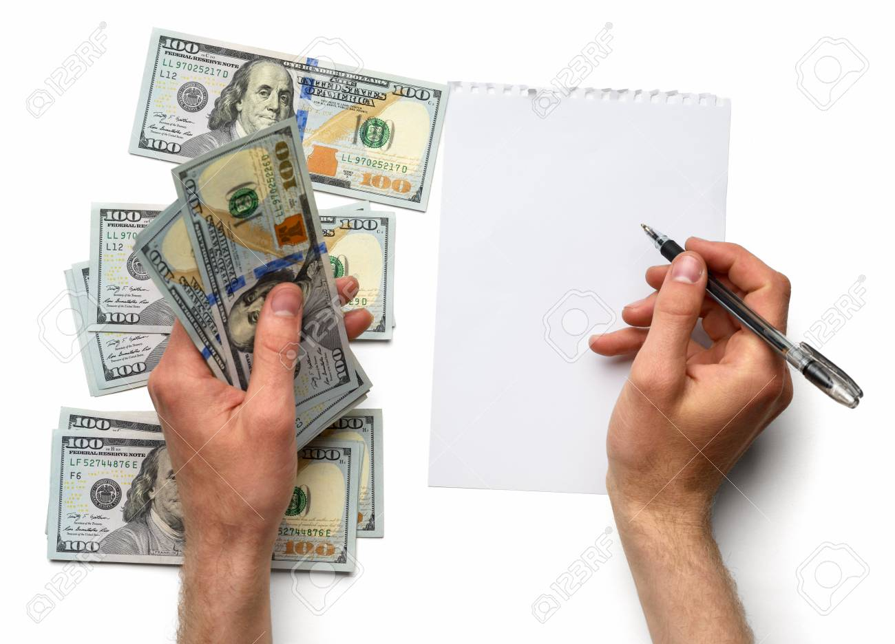 record expenses on a white sheet stock photo picture and royalty