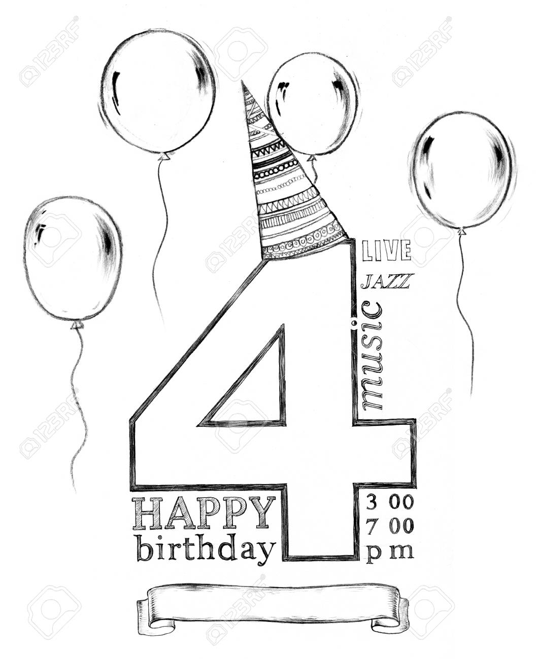 Hand drawing pencil drawing chalk on board typography happy birthday invitation with balloons isolated on white