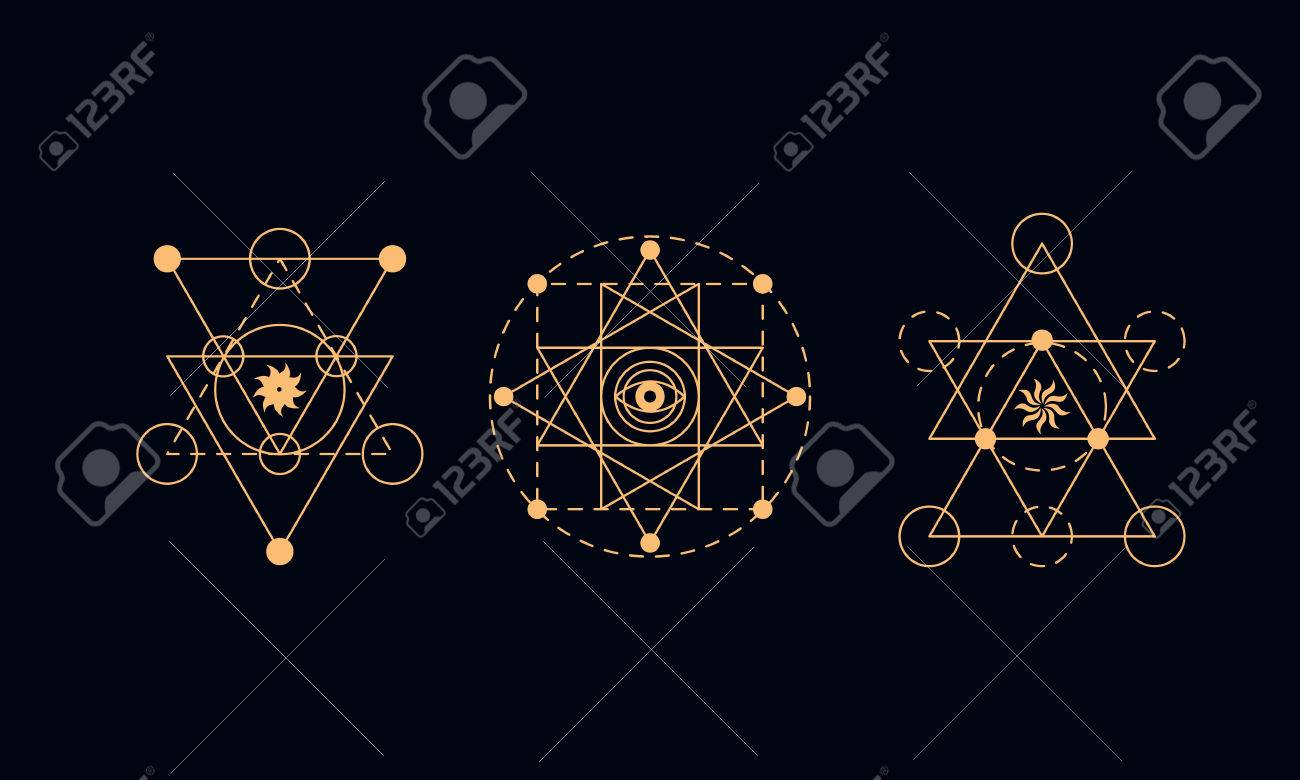 sacred geometry symbols set alchemy illustration royalty free