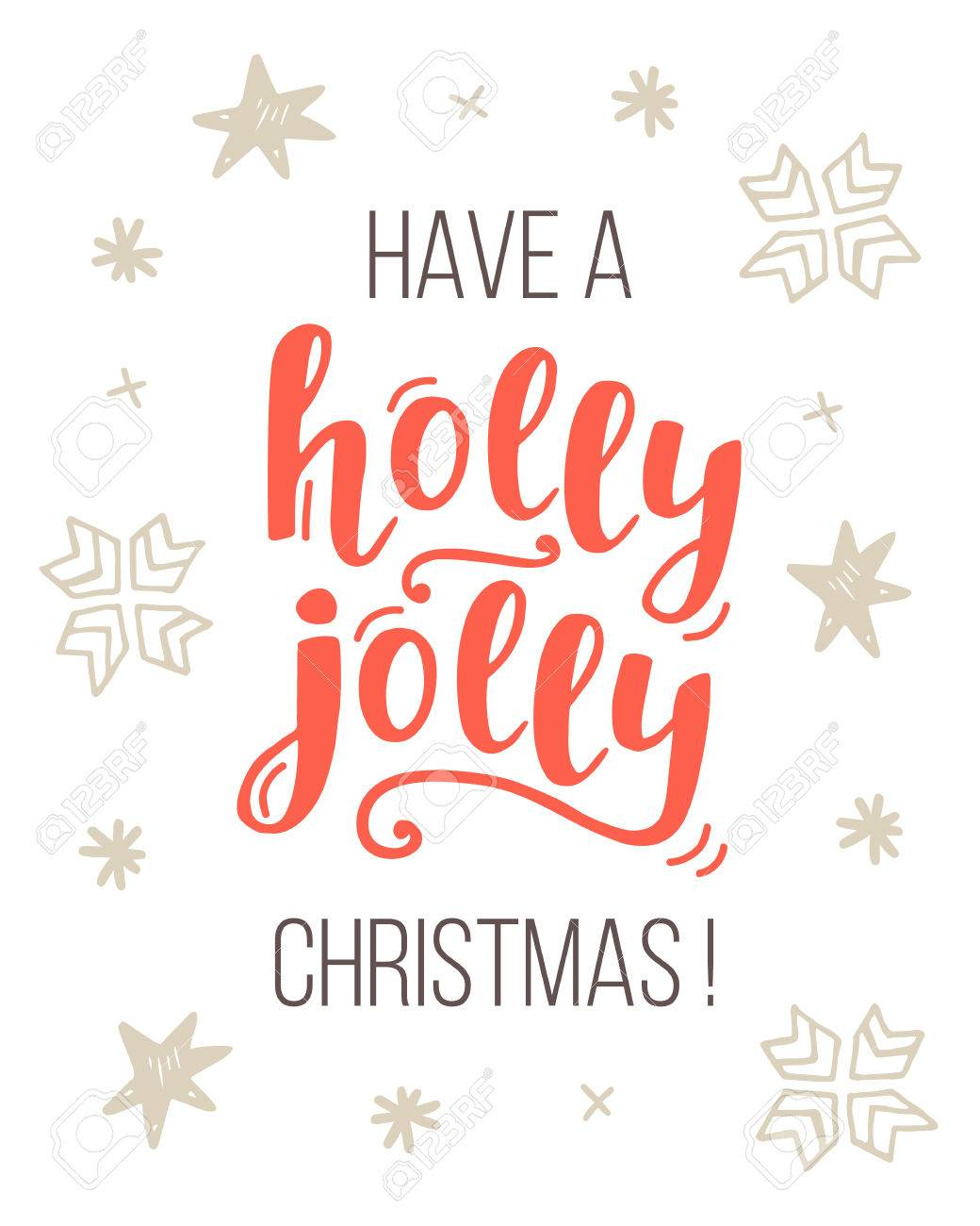 Have A Holly Jolly Christmas Greeting Card With Handwritten Lettering