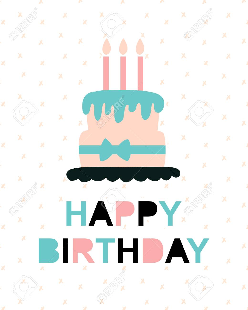 Happy Birthday Greeting Card Template Vector Illustration Of Cake With Candles Trendy Typography Design