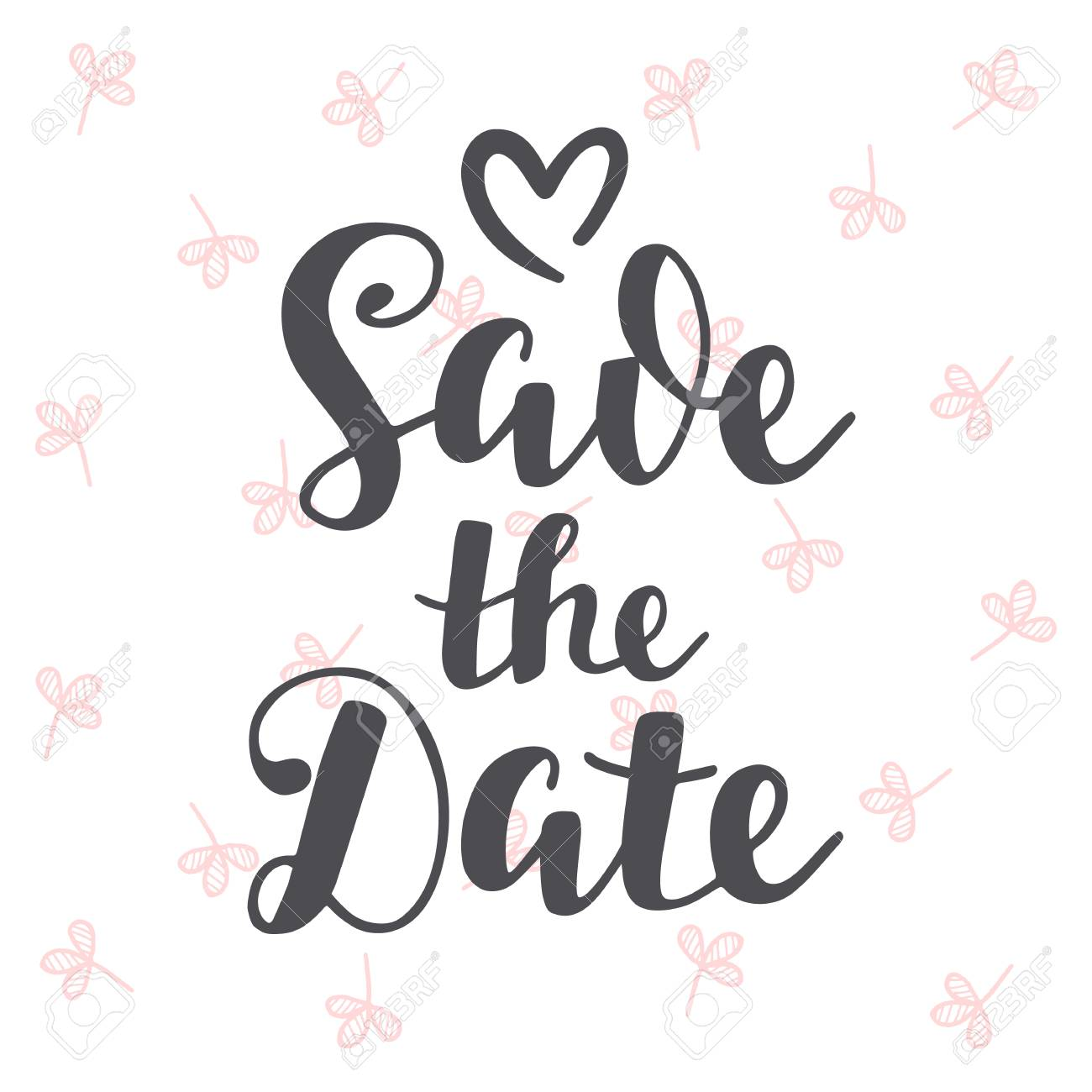 Save The Date Vintage Hand Written Lettering Wedding Invitation