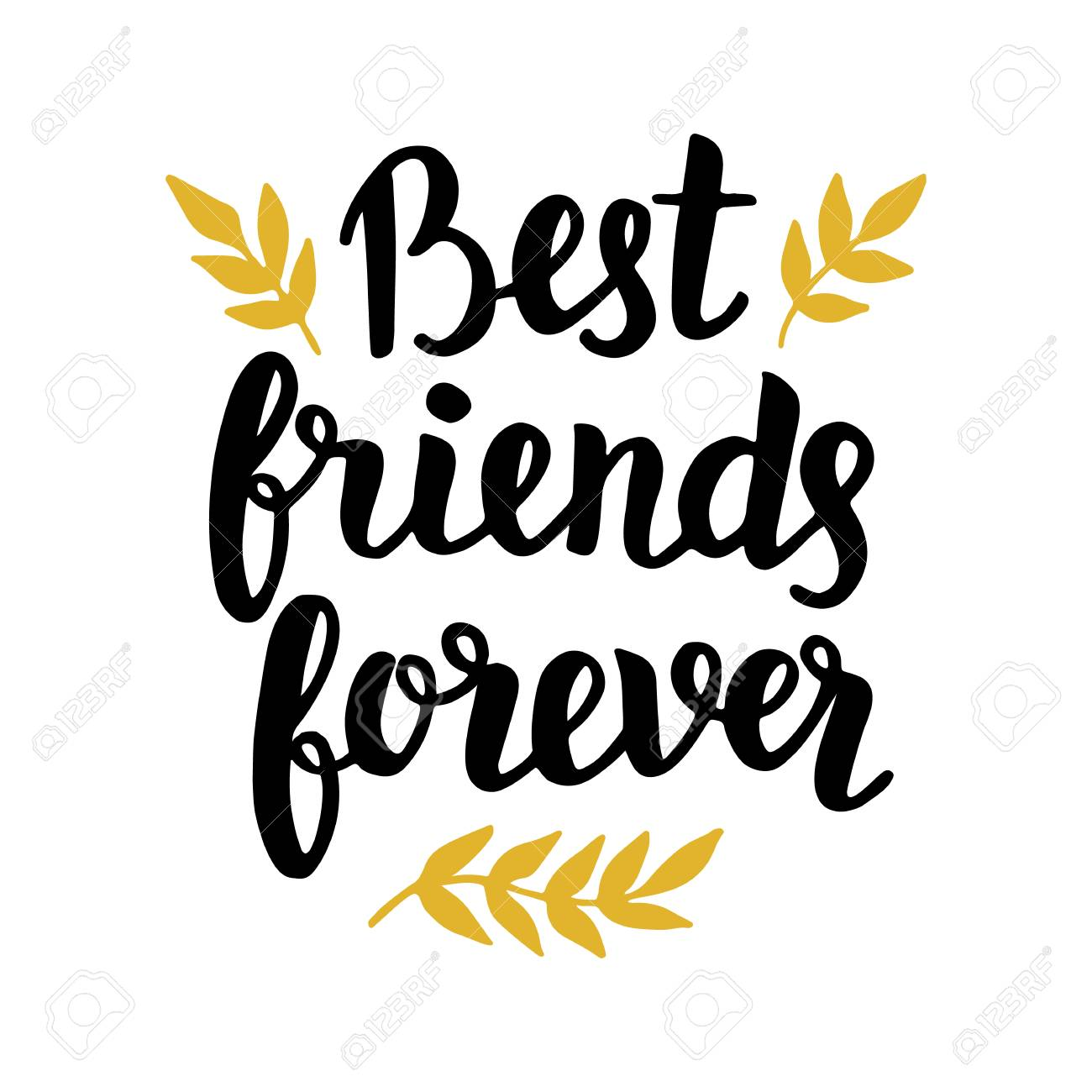 Best friends forever quote, modern hand written lettering in black and golden colors. Typographic design for greeting cards, posters, t-shirt print. Trendy vector calligraphy on white background. - 79098498