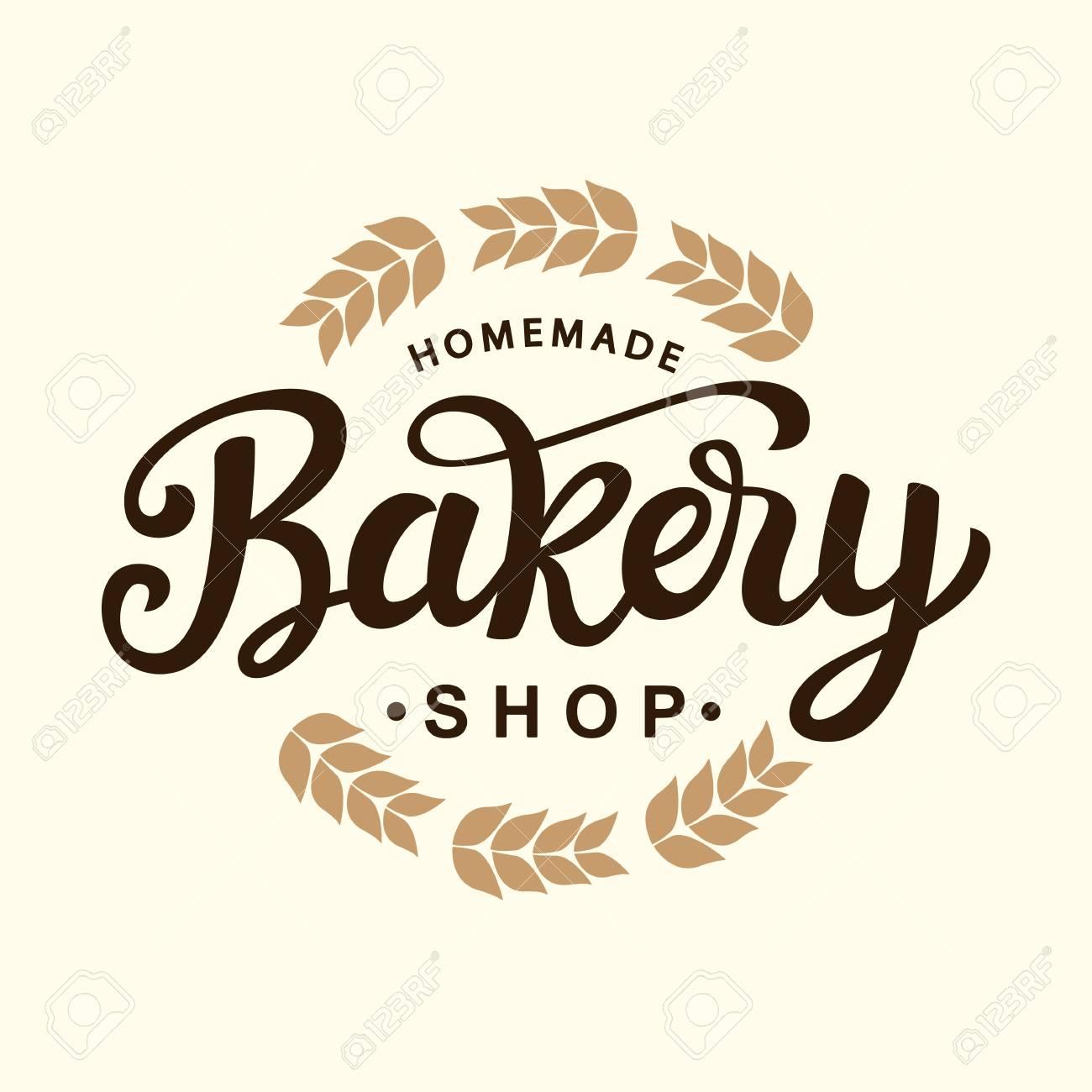 Bakery Logo Template Design. Hand Drawn Lettering. Vintage ...