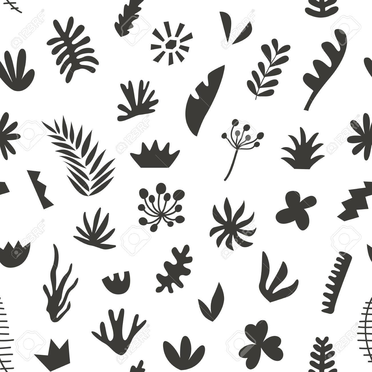 Hand Drawn Botanical Doodles Seamless Pattern Tropical Summer Royalty Free Cliparts Vectors And Stock Illustration Image 81067858