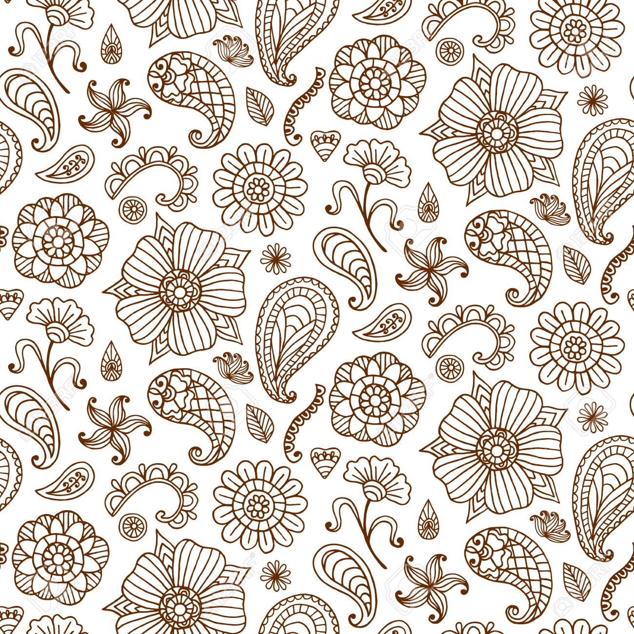 Seamless pattern with vector henna tattoo doodles set. Indian paisley,  floral asian ethnic design