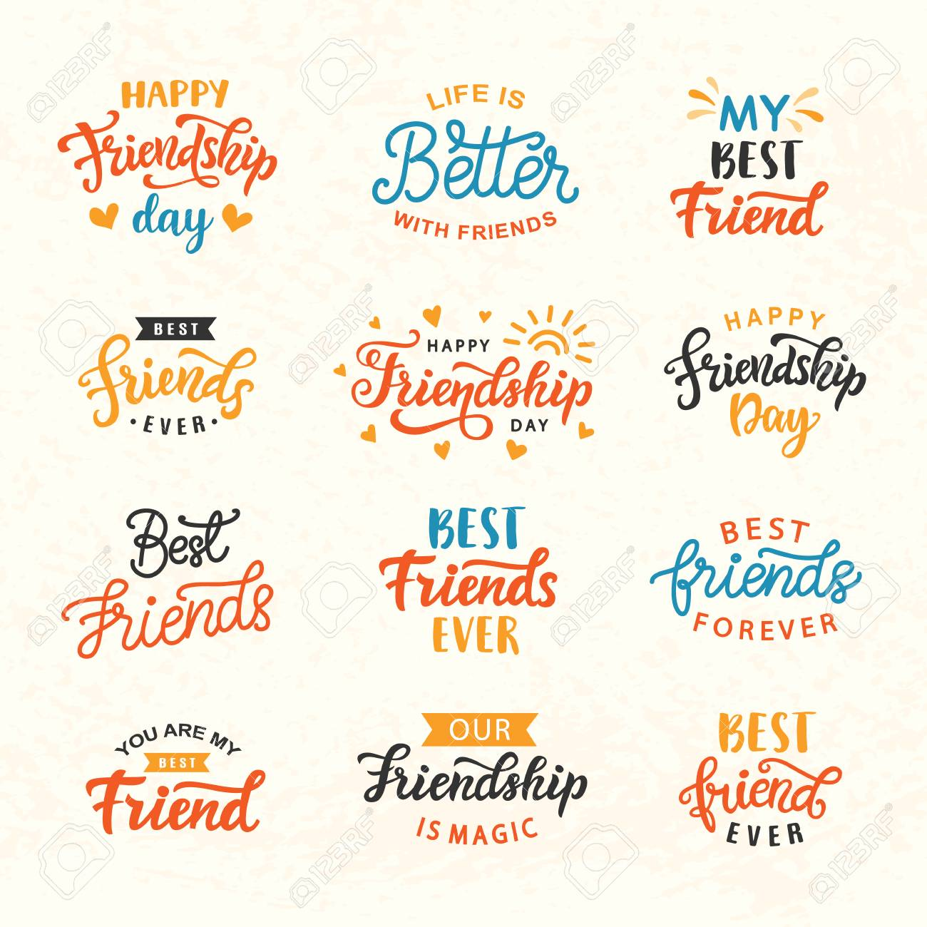 2a9b92623 Happy Friendship Day hand lettering big set. Greeting card typography  template. Modern calligraphy design