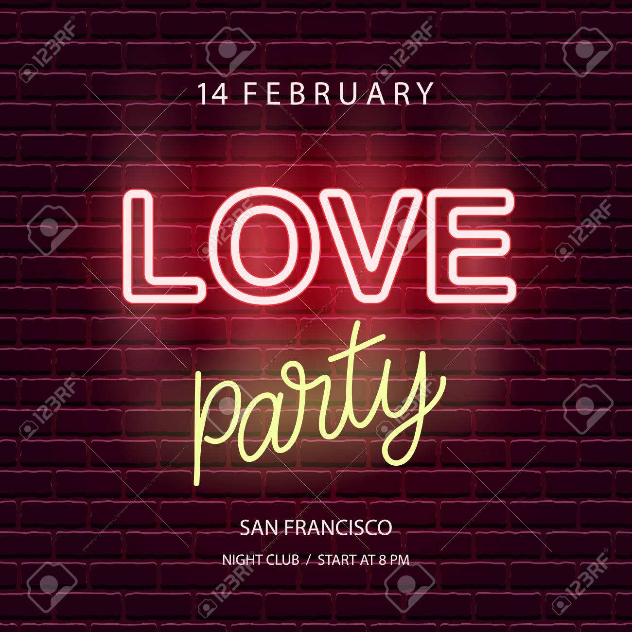 love party neon emblem valentines day wedding banner template