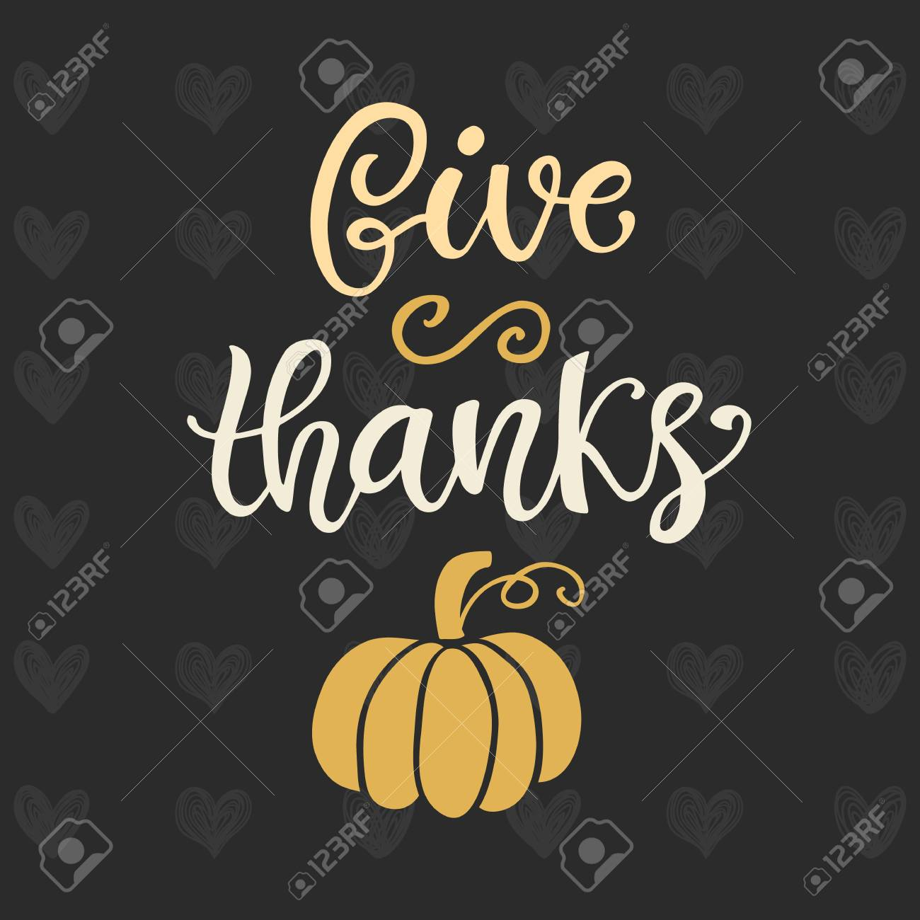 Give Thanks. Thanksgiving Day Poster Template. Hand Written ...