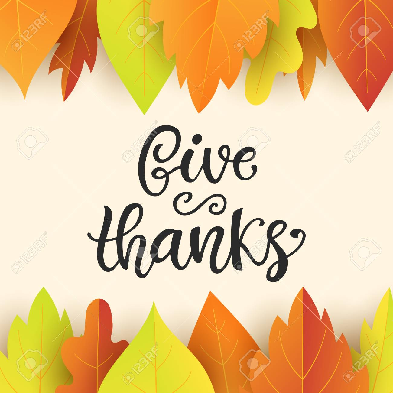 Give Thanks Thanksgiving Day Poster Template Hand Written