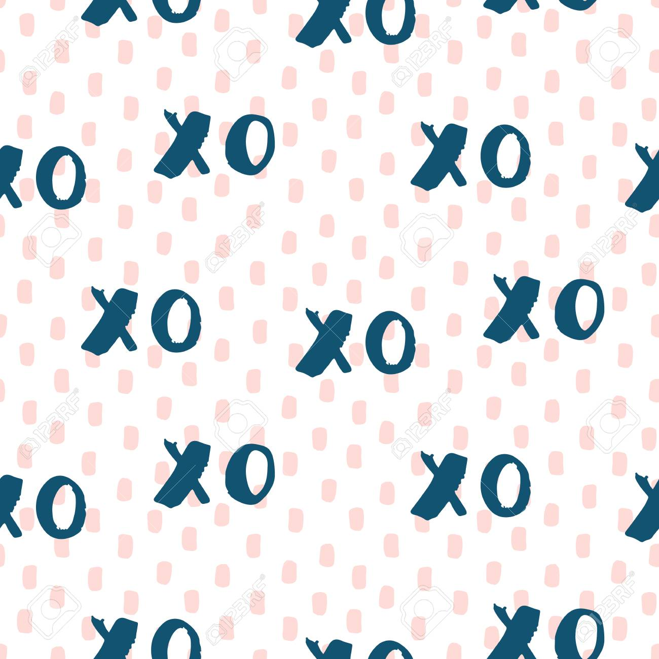 Hand Drawn Vector Seamless Pattern With Symbols Of Hugs And Kisses