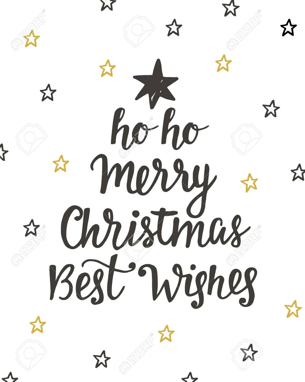 Merry Christmas Best Wishes Holidays Hand Written Lettering