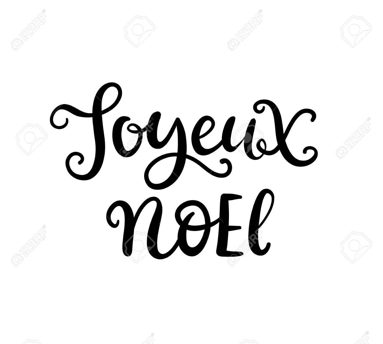 Joyeux Noel Clipart.Christmas Ink Hand Lettering Joyeux Noel Phrase
