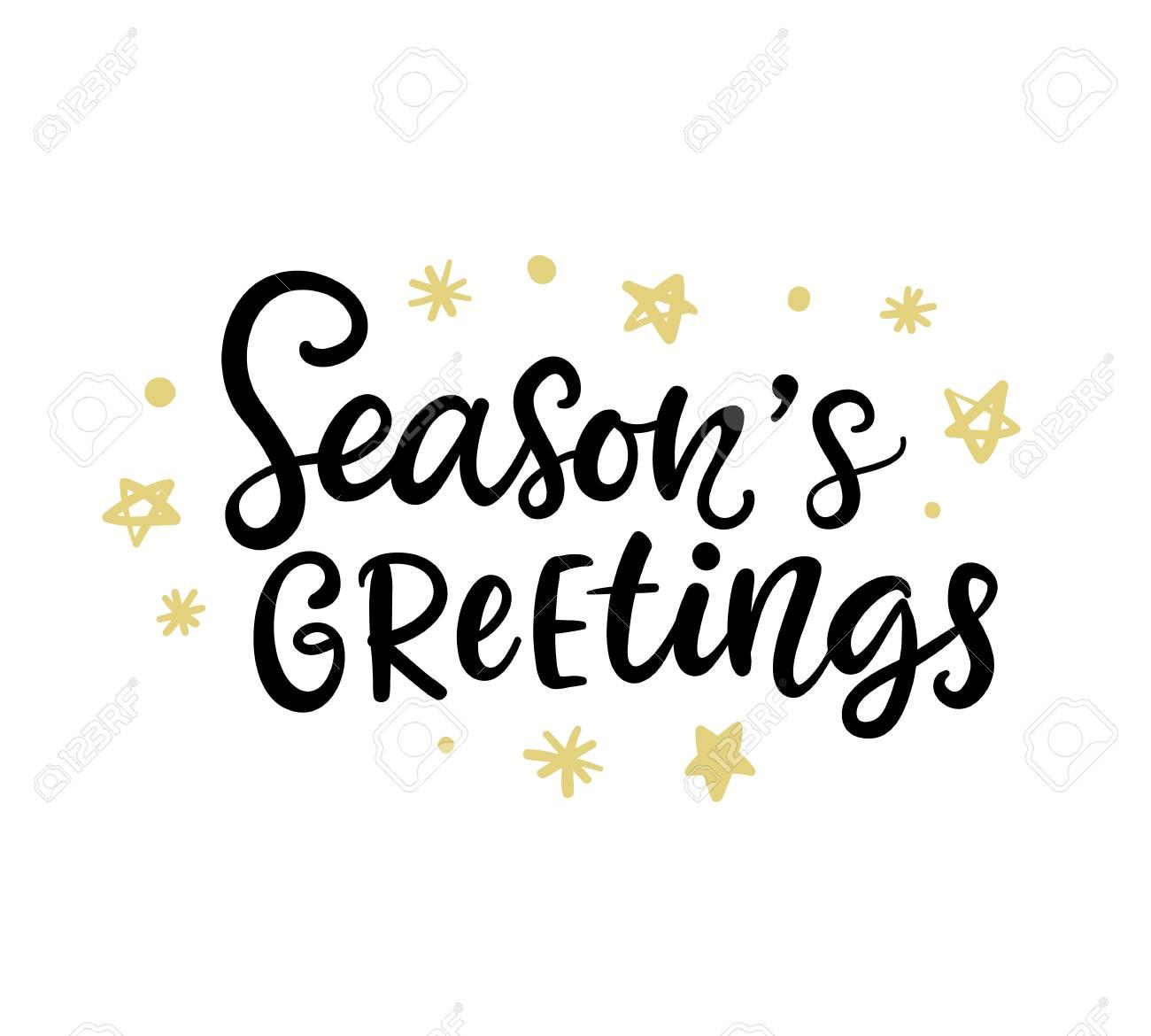 Christmas Ink Hand Lettering Seasons Greetings Phrase Royalty Free