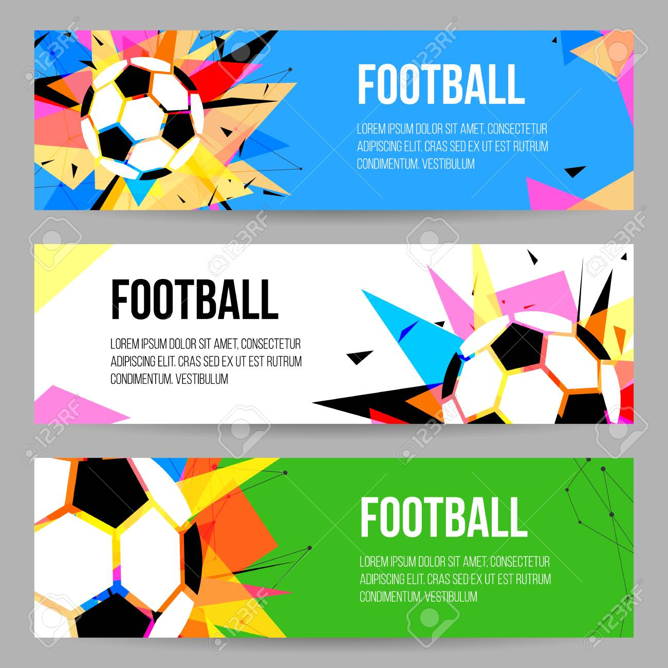 Football Tournament Banner Templates Set Soccer Championship Royalty Free Cliparts Vectors And Stock Illustration Image 91263993