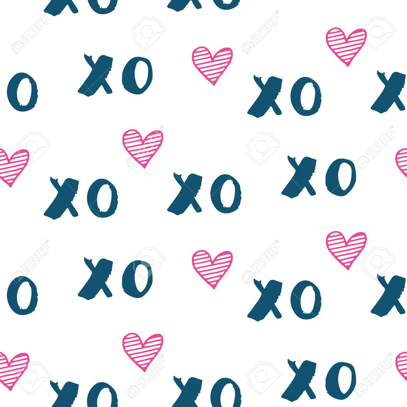Hand Drawn Vector Seamless Pattern With Xoxo Hipster Symbols