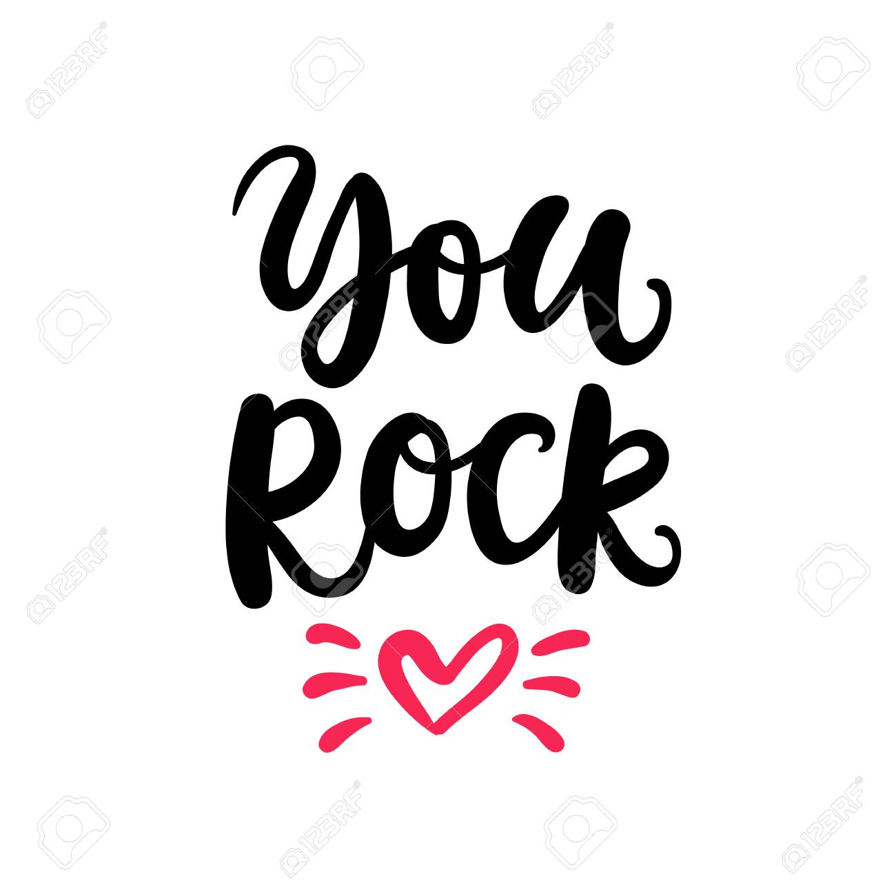 You Rock. Hand Written Lettering for Valentines Day Gift Tag - 92734665